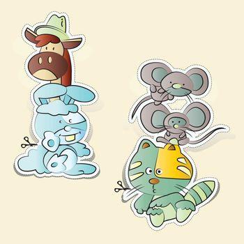 Rats, cats, rabbits, horses cartoons paper cut