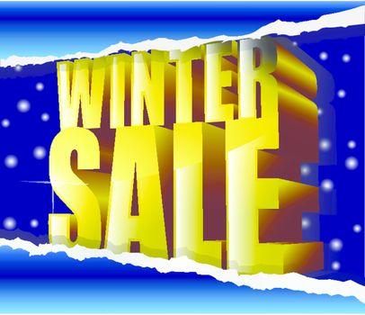 winter sale golden sign on snow background