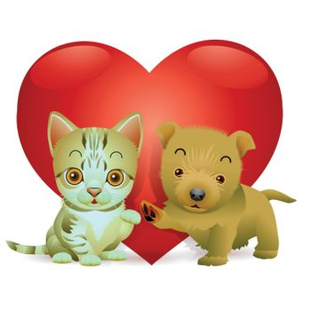 Puppies and kittens with spirit love