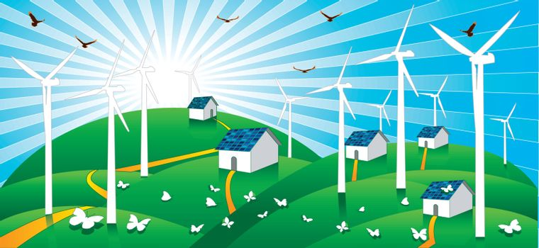 Wind power and solar cells power are energy clean and save