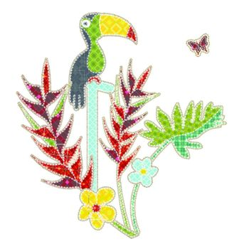 Illustrations patchwork of tropical bird and tropical flower
