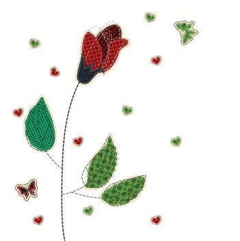 Illustrations patchwork of rose heart butterfly