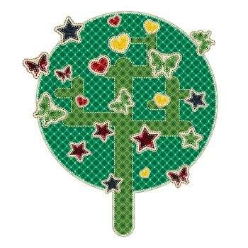 Illustrations patchwork of tree with star, butterfly, heart