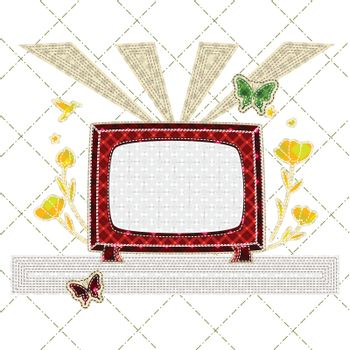patchwork of retro tv with flower, butterfly