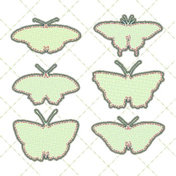 patchwork concept shape of butterfly set