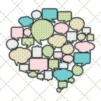 patchwork concept shape of cloud talk