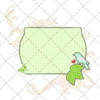 Illustrations patchwork birthday card with frame and bird