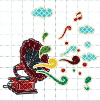 Illustrations patchwork of gramophone or phonograph celebration