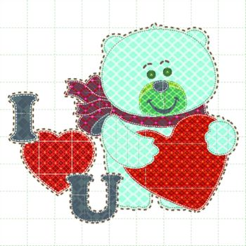 Illustrations patchwork of bear holding a heart