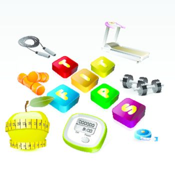 fit tips version of fitness equipment icon set