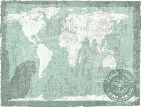 travel vintage background with map, compass and parrot silhouette