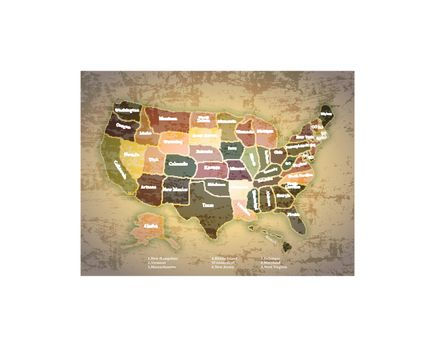 Antique Vintage Color Map United States of America