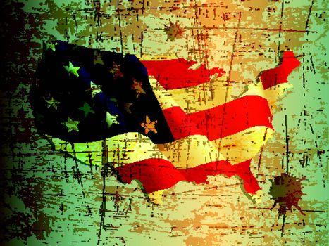 grunge of United States or USA map and flag