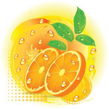 Slices orange with leaf isolated on white background