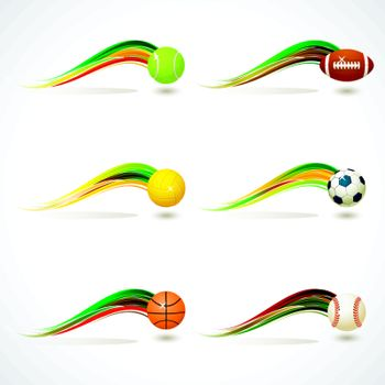 Set of Sports equipment with colorful rainbow curve