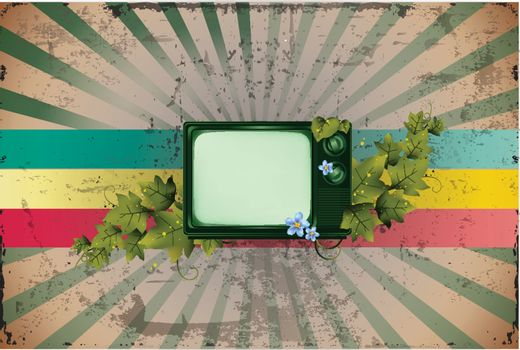 Old Retro TV and Leaves with colorful background