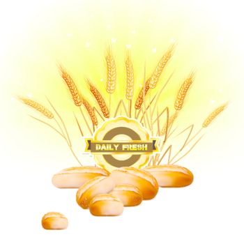 Bread and wheat on sunrise background
