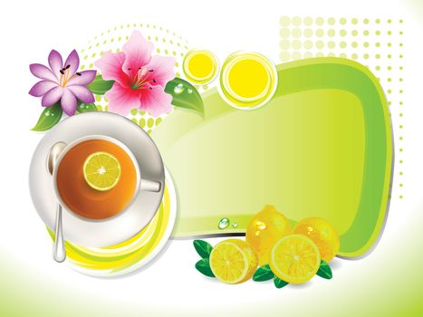 cup of tea with lemon and flower with copy space
