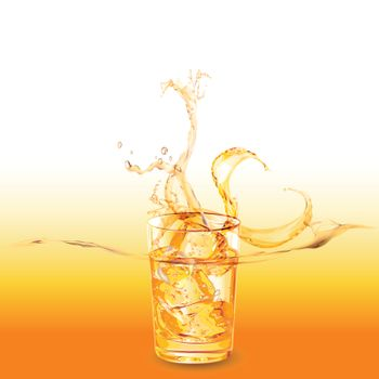 glass of whiskey with ice cubes splashing out
