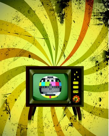 Old Retro TV with colorful background