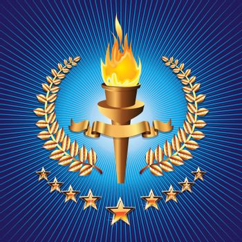 Olympic torch on blue background with star