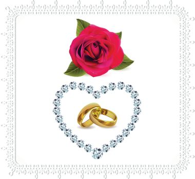 rings and roses with Diamond heart