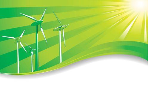 Ecology concept Renewable energies wind turbines background