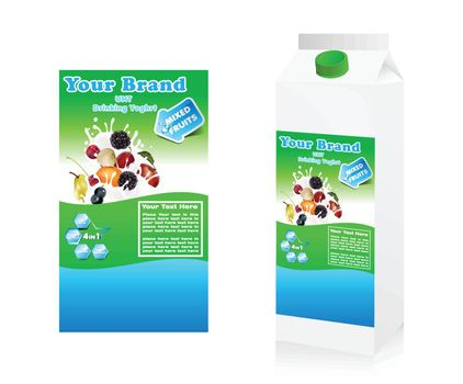 Label yogurt mixed with fruit with package