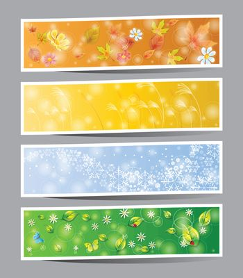 Set of seasons banners  summer, autumn, winter and spring