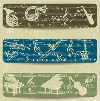 Music banner on grunge background