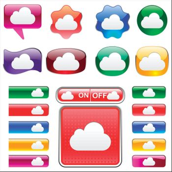 set of variety of colors Cloud icon button and tab