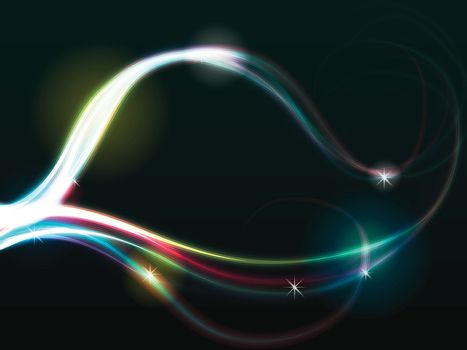 abstract multicolor spiral glowing lines over black