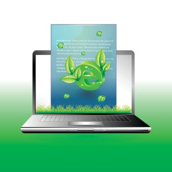 laptop with green mail Environment concept