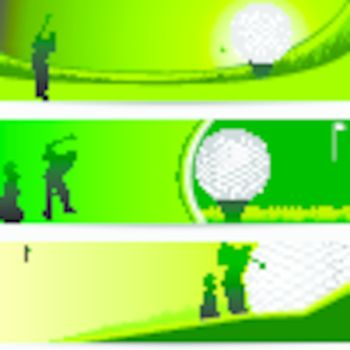 golf tournament green banner set with copy space