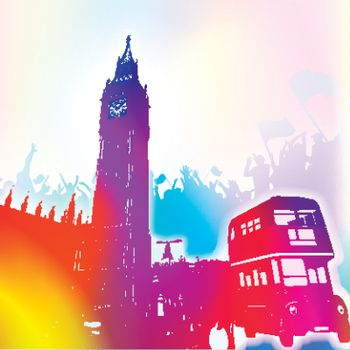 colorful background of Big Ben and London bus