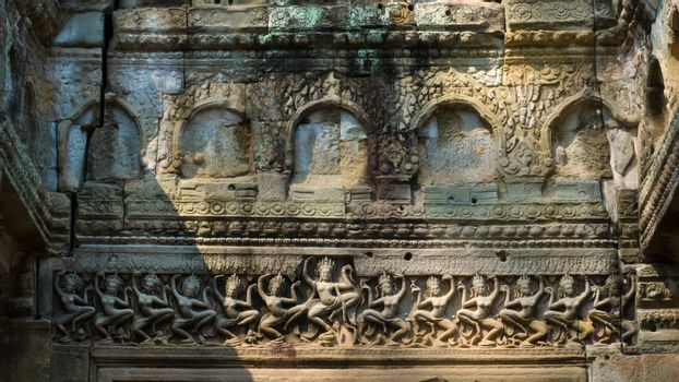 Brown Carve design of dance apsara