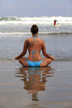 Meditation girl yoga on the beach