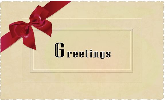 Vintage seasons greetings card with red ribbon
