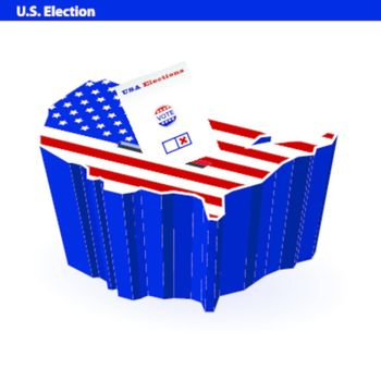 US presidential ballot box usa map shape