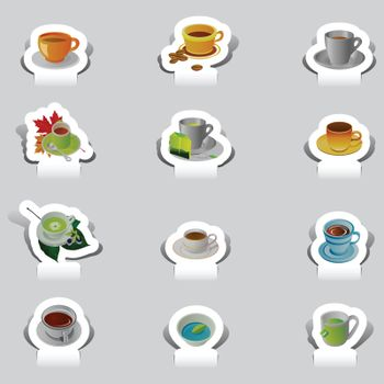 paper cut various cup of tea and coffee set