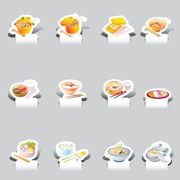 paper cut various soba noodles set