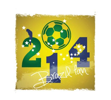 2014 Brazil fan football world cup poster on grunge background