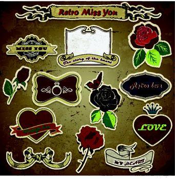 retro vintage roses, love, heart on grunge background