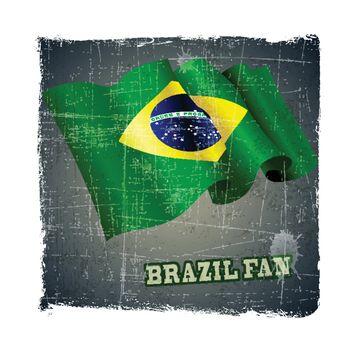 flag of Brazil fan football world cup grunge background