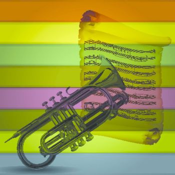 Retro Cornet musical with colorful background