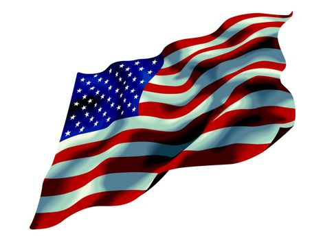 the flag of the United States of America isolated on white