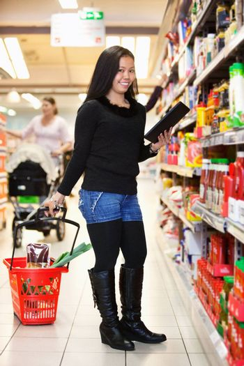 Full length of a woman with shopping basket holding tablet pc in shopping store