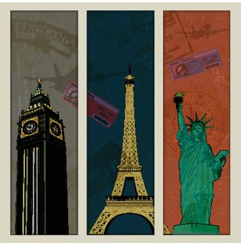 illustration of famous monument in travel collage background