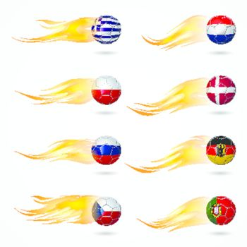 Ball Europe soccer with fire burning at tail