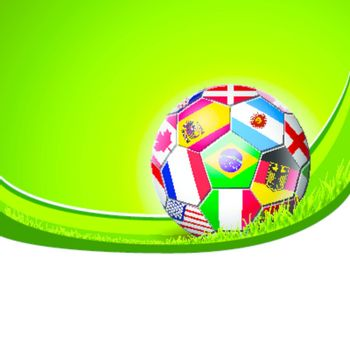 football soccer with world teams flags with copy space